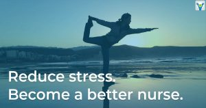 Nurse Doing yoga, a suggested tip for reducing stress