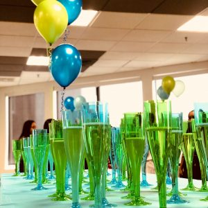 A table with glasses of champagne to celebrate 1 million hours booked in the IntelyCare app