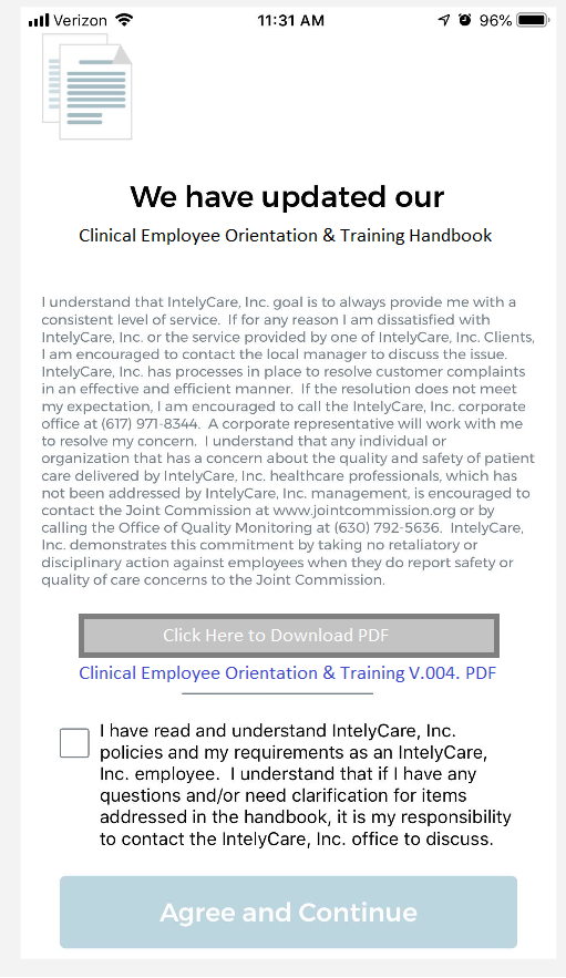 A screenshot of the IntelyPro nurse new hire acknowledgement form