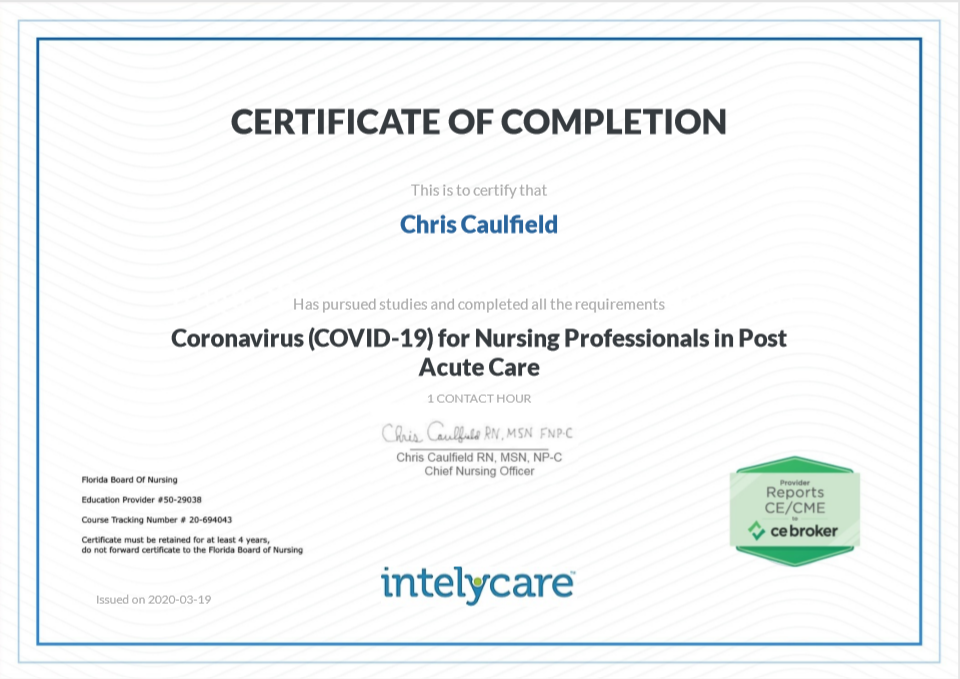 A picture of IntelyCare's COVID-19 Nurse Training Course Certification