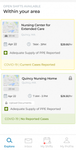 Screenshot displays how IntelyCare app monitors Covid outbreaks at a facility