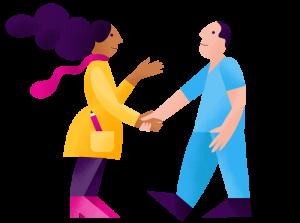 Two IntelyPro nurses shaking hands