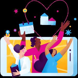 Nurses cheering icon