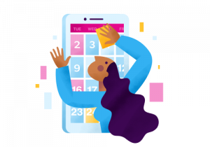 Icon showing a calendar for nurse scheduling