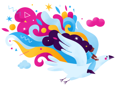 Icon of a bird with colorful wings