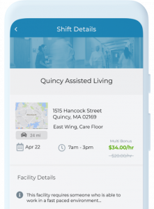 Sample of the shift details that are available to nurses when they sign up for new per diem nursing jobs