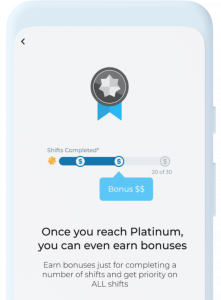 Once you reach platinum, you can earn even more bonuses from IntelyCare.