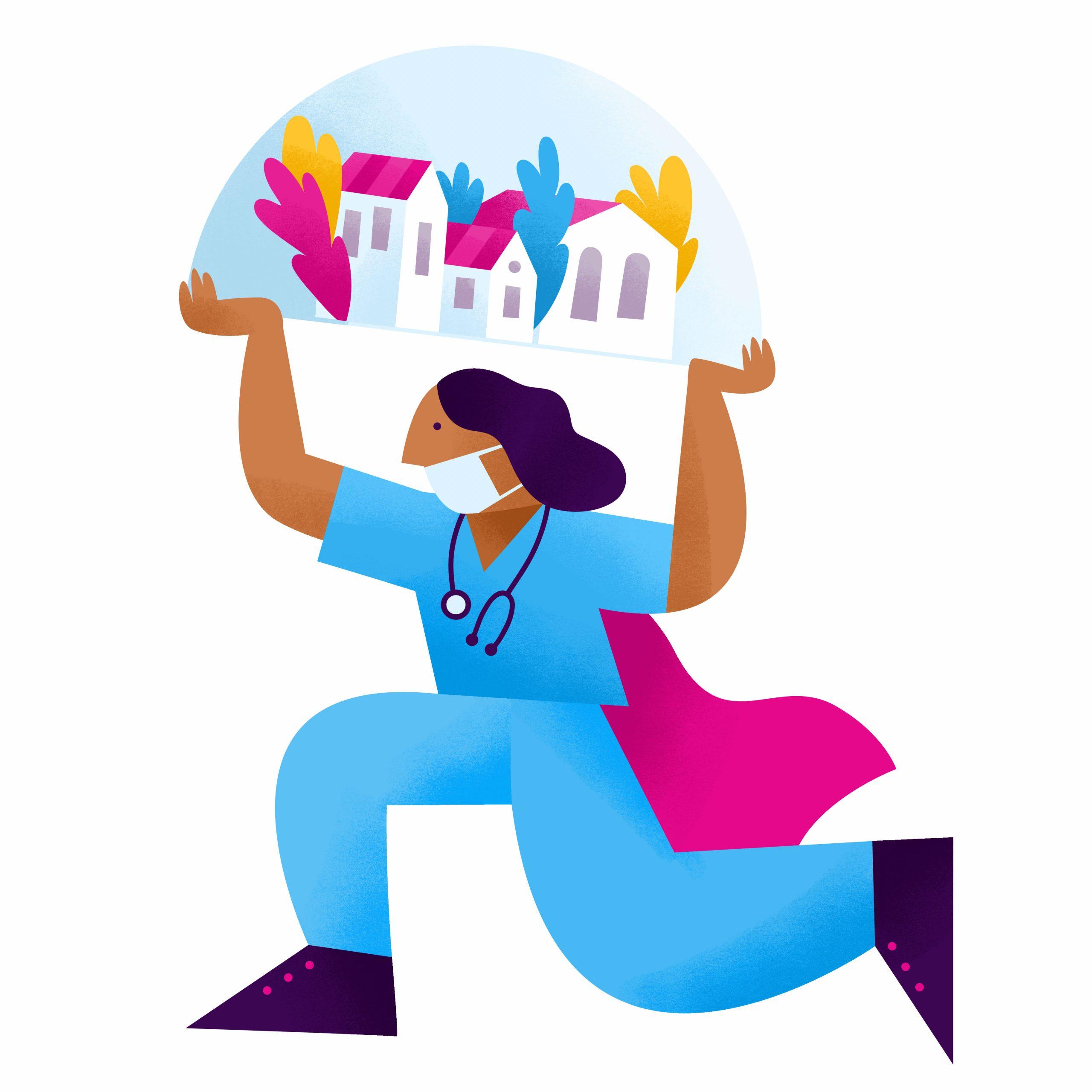 IntelyCare staffing icon of a nurse holding up globe