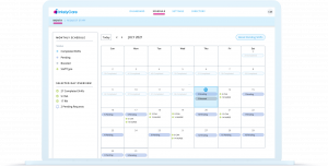 Calendar of a nurse's scheduled shifts in the IntelyCare app