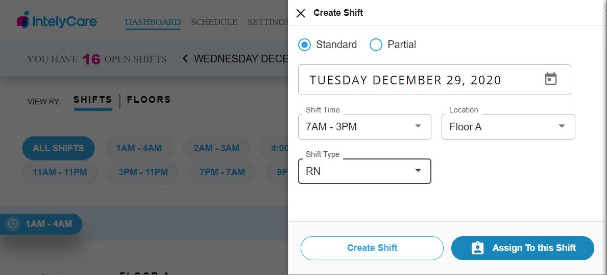 Create a Standard Shift
