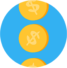 Coins falling icon